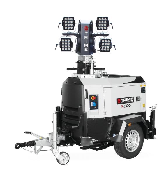 Mobiler Lichtmast X-Eco 4 x 160 Watt LED 3.300 m² Beleuchtungsfläche