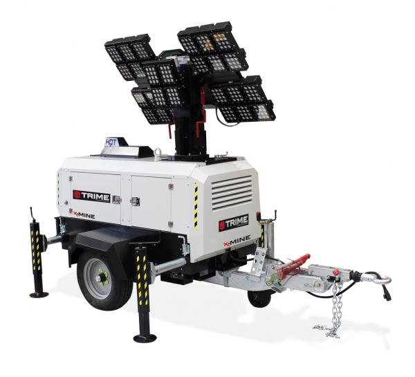 Flutlichtmast X-MINE 28x150 Watt 48V LED 8000 Beleuchtungsfläche 24.500 m²