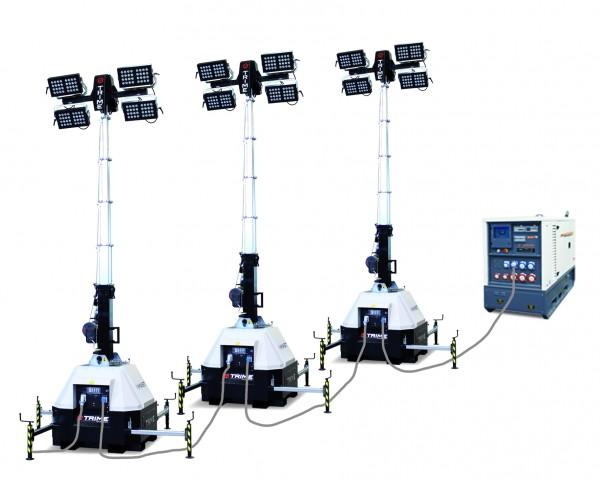 Flutlichtmast X-Mast 4x150 Watt Beleuchtungsfläche 2.700 m²